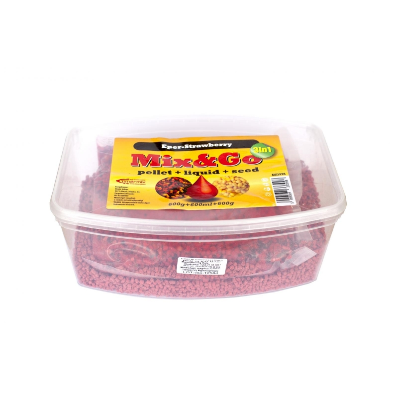 Timar - Pelete MIXGO Pellet Box 3 in 1 Capsuni (600g pelete + 600ml aroma + 600g seminte)