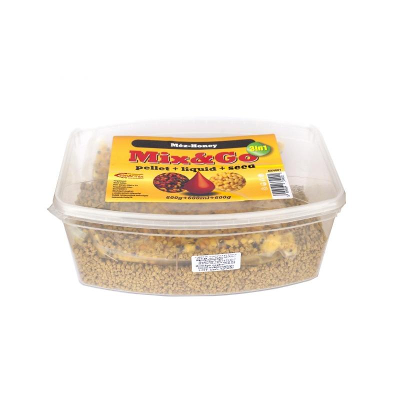 Timar - Pelete MIXGO Pellet Box 3 in 1 Miere (600g pelete + 600ml aroma + 600g seminte)