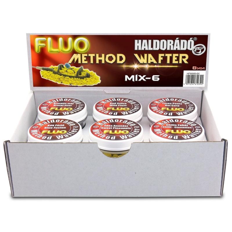 Haldorado - Pelete flotant Fluo Method Wafter 8 mm - MIX-6    6 arome intr-o cutie